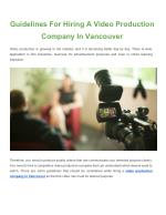 Facts To Remember About Video Production Services While Choosing A Company