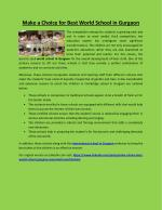 Make a choice for best world school in gurgaon