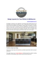 Design Layouts For Your Kitchen In Melbourne