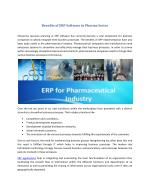 Benefits of ERP Software in Pharma Sector
