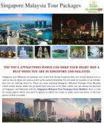 The Top 4 Destination You Should Visit with Singapore Malaysia Tour Packages