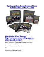 High Paying Client Secrets Reviews and Bonuses-- High Paying Client Secrets