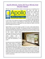 Apollo Blinds: Solve All Your Blinds And Shutter Needs