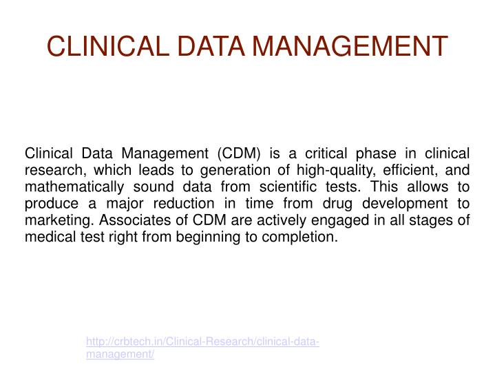 clinical data management n.