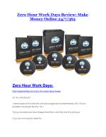 Zero Hour Work Days review and giant bonus with 100 items