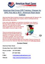 American Red Cross CPR Training | Classes for CPR, First Aid or BLS - American Heart Saver Institute