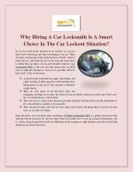 Why Hiring A Car Locksmith Is A Smart Choice In The Car Lockout Situation