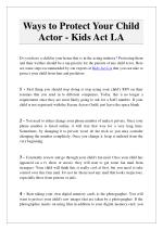 Ways to Protect Your Child Actor - Kids Act LA