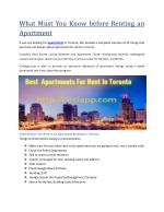 What Must You Know before Renting an Apartment