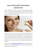 Know The Benefits Of Antioxidant Capsules Uses