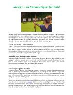 Archery – an Awesome Sport for Kids!