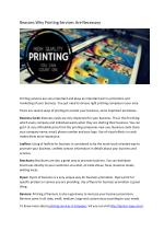 Reasons Why Printing Services Are Necessary
