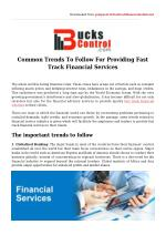 Trends To Follow For Providing Fast Track Financial Services