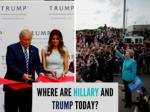 Where are Hillary and Trump today?