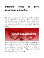 Different Types of Love Calculators in Astrology