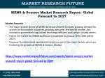 MEMS & Sensors Market 2016: Industry Research, Review, Growth, Segment and Analysis. Forecast to 2027