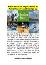 What You can Expect from an Adventure Travel Company