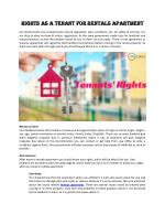 Right as a tenant for rentals apartment