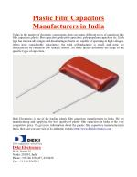 Plastic Film Capacitors Manufacturers in India
