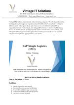 Best SAP S4 HANA Simple Logistics Course Online Training Institute-SAPVITS UK