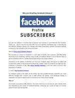 Why you should buy facebook followers?
