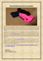Why You Might Need Good Gun Holsters