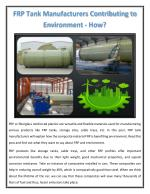FRP Tank Manufacturers Contributing to Environment - How?
