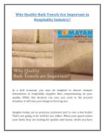 Why Quality Bath Towels Are Important in Hospitality Industry?
