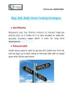 Buy, Sell, Hold Stock Trading Strategies