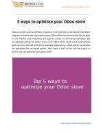 5 ways to optimize your Odoo store