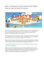 Macy's Thanksgiving Day Parade 2016: What Time It starts & where to Stream