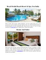 Royal Orchid Beach Resort & Spa, Goa India