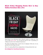 Black Friday Shopping Hacks: How to Buy Online Furniture like a Pro