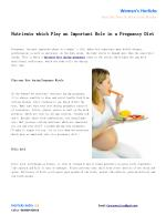 Importance of Healthy Diet and Food during Pregnancy