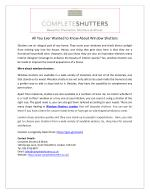 All You Ever Wanted to Know About Window Shutters