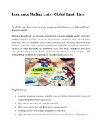 Insurance Mailing Lists – Global Email Lists