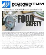 Momentum Systems: Why Food Safety Management System is Useful For You!