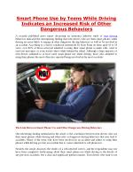 Smart Phone Use by Teens While Driving Indicates an Increased Risk of Other Dangerous Behaviors