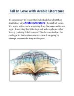 Fall In Love with Arabic Literature
