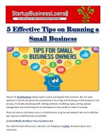 5 Effective Tips on Running a Small Business