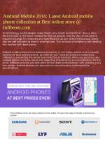 Android Mobile 2016: Latest Android mobile phone collection at Best online store @ Infibeam.com