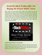 Avail the Black Friday Offer For Buying the Prized Amber Stones