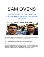 Sam Ovens Tai Lopez Interview
