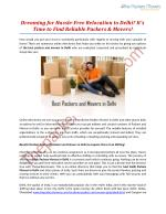 Dreaming for Hassle-Free Relocation to Delhi? It's Time to Find Reliable Packers & Movers!