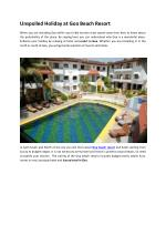 Unspoiled Holiday at Goa Beach Resort