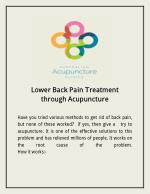 Lower Back Pain Treatment through Acupuncture