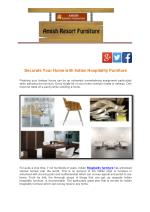 Decorate Your Home with Indian Hospitality Furniture