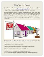 Selling Your Own Property Privately