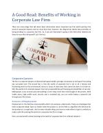 A Good Read: Benefits of Working in Corporate Law Firm
