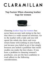 Top factors when choosing leather bags for women